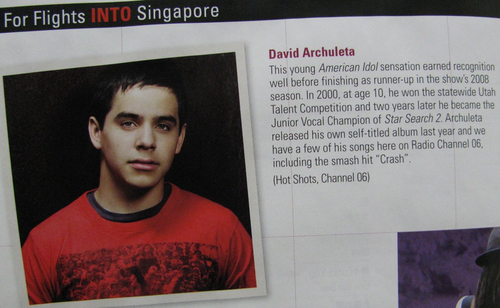 David Archuleta on Singapore Airlines Inflight Entertainment Magazine